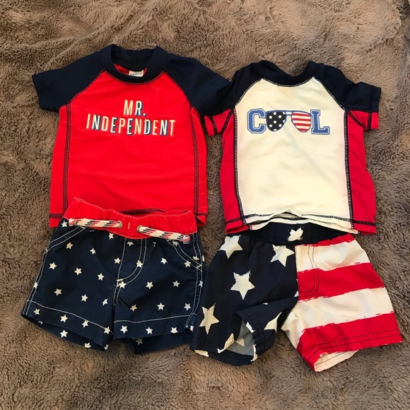 Carters Infant Boys Patriotic Red White /& Cute Swim Suit Rash Guard Swim Trunks